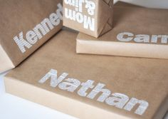 names cut from newspaper - brown wrapping - Christmas Time in the City