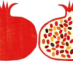 fruit, pomegranate and seeds image on We Heart It Gravure Illustration, Graphic Illustration, Pomegranate Art, Jewish Art, Fruit Art, Art Graphique, Japanese Art, Art Paintings, Illustrators