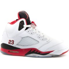Air Jordan 5 Retro Fire Red ❤ liked on Polyvore