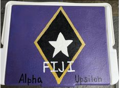 COOLERSbyU Painted Cooler Examples | FIJI fraternity cooler lid | Tags: fiji, phi gamma delta, fraternity, formal, cooler, purple flag Fraternity Formal, Fraternity Coolers, Formal Cooler Ideas, Painted Coolers, Cooler Painting, Fiji, Painting Inspiration, Tags, Purple