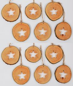Wooden Christmas Ornaments, Christmas Decorations, Star Silhouette, Handmade Wooden, Handmade Gifts, Shops, Natural Christmas, Linseed Oil, Wood Slices