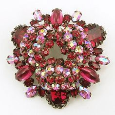 Vintage Schreiner (unsigned) Red and Pink Brooch or Pendant
