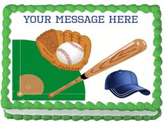 "BASEBALL+Edible+image+cake+topper+1/4+sheet+(10.5""+x+8"")"