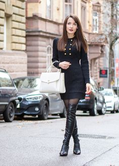 Black knit dress with golden buttons & black overknees. The Fashion Rose http://www.thefashionrose.com/2016/12/my-personal-winter-must-have-the-knit-dress.html
