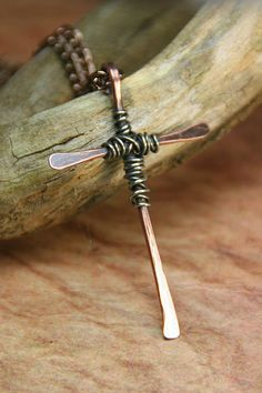 Hammered Copper Cross Wire Wrapped with by AllowingArtDesigns, $30.00