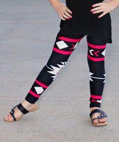 Pink & Black Geometric Leggings - Toddler & Kids