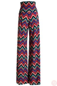 Belle Donne - Chevron S Jade Red Pattern Printed Long Palazzo Pant For Womens In Multiple Colors/Sizes