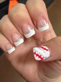 Baseball nails Baseball Nail Designs, Baseball Nails, Softball Nails, Baseball Boys, Baseball Photos, Nail Polish Designs, Cute Nail Designs, Nails Design, Love Nails