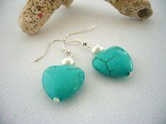 Handmade Fashion Jewelry Turquoise Heart Dangle by CraftsbySigita,  www.etsy.com/shop/CraftsbySigita