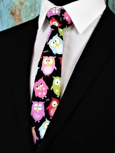 Owl Tie – Colorful Mens Owl Necktie, Also Available Extra Long and as a Skinny Tie. by EdsNeckties on Etsy