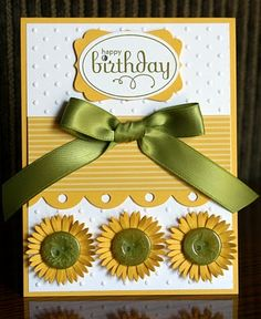 Happy Birthday Stamps: Perfect Punches By:Krystal De Leeuw at Krystal's Cards 1st Birthday Party For Girls, Happy Birthday, Sunflower Cards, Birthday Card Design, Button Cards, Bday Cards, Embossed Cards, Scrapbook Cards, Scrapbooking