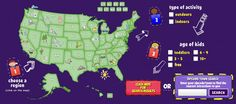 Just enter your zip code, and this site pulls up tons of stuff to do with kids in your area.