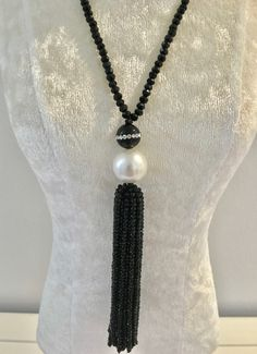 Pearl and Faceted Onyx Necklace at $150 Check out - Belle4ever.com