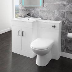 Nova BTW Toilet Unit Inc. Cistern + Soft Close Seat (Depth A modern minimalist w . Compact Bathroom, White Bathroom, Modern Bathroom, Small Bathroom, Green Bathrooms, White Vanity Unit, Vanity Units, Vanity Sink, Turin