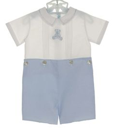 NEW Feltman Brothers Blue and White Button on Shorts Set with Blue Teddy Bear Embroidery $55.00