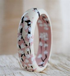 Cherry Blossom Bangle Bracelet via amy987 Etsy shop