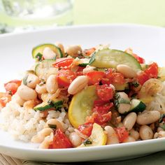 green and yellow squash, hearty cannellini beans, and chopped tomatoes, for a super quick and filling dinner