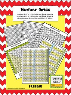 Six different number grids—number grid to 120 in color and black & white, number grid to 200 in color and black & white, and multiplication grid in color and black & white. Freebie :)