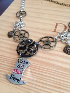 Steampunk Alice in Wonderland Mad Hatter Necklace on Etsy, $50.00