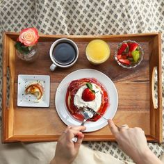 Strawberry Shortcake Pancake Breakfast In Bed