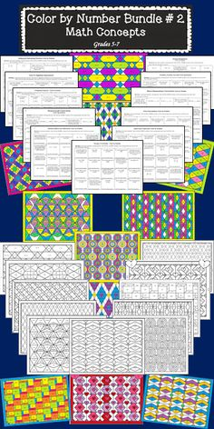 Math and coloring! Students enjoy the variety of coloring activities in math class.  This is a second bundle of color by number activities, which addresses 11 different math concepts.$
