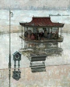 New Brighton, Wirral, c. 1957 by Geoff Yeomans (British b. Liverpool History, Liverpool Home, Brighton England, New Brighton, Your Paintings, Landscape Paintings, Landscapes, Art Uk, Art For Art Sake