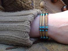Bracelet amérindien d'os cuir d'orignal et pierre