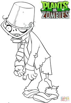 Click the Plants vs. Zombies Buckethead Zombie coloring pages to view printable version or color it online (compatible with iPad and Android tablets).