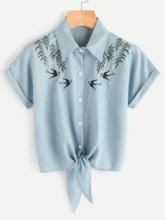 SheIn offers Tie Front Swallows Embroidered Denim Shirt & more to fit your fashionable needs. - Denim Shirt Dress - Ideas of Denim Shirt Dress Casual Outfits, Cute Outfits, Fashion Outfits, Casual Tie, Ladies Fashion, Fashion Ideas, Petite Fashion, Fashion Advice, Fashion Trends