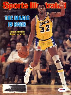 Magic Johnson Autographed Magazine Cover Lakers PSA/DNA