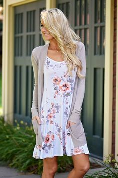 White tank dress with soft pink and grey flowers. Pair with a soft cardigan for a cool Summer night! Stitch fix 2017 Spring and Summer fashion trends. #sponsored #tankdress #womensfashionoutfitsnight