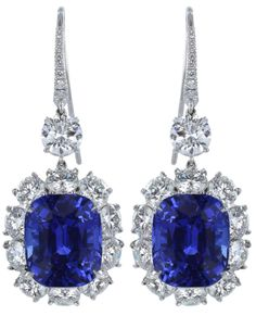 Ceylon Sapphire & Diamond Platinum drop earrings