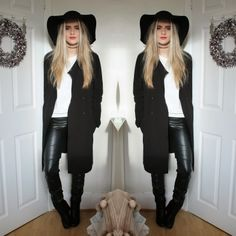 Fashion Influx working it in our floppy hat and chunky boots #fashion #boohoostyle #monochrome #hat #boots