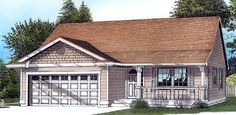 House Plan 46021 | Bungalow Ranch Plan with 1251 Sq. Ft., 3 Bedrooms, 2 Bathrooms, 2 Car Garage