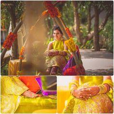 #Spotted: Young bride Devika looking vibrant and beautiful in a #AnitaDongre #gotapatti #lehenga. #Mehendi #DestinationWedding.  Courtesy: @wedmegood