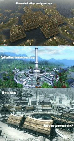 um...the imperial city (at least the white-gold tower) was built in the first era by the ayleids, the other cities in cyrodiil/oblivion aren't noticeably advanced compared to skyrim #SomeoneIsWrongOnTheInternet