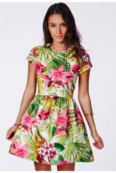 09965ebf4f87 Hamaka Tropical Lily Print Skater Dress Skater Dresses