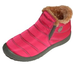 Sale 15% (28.99$) - US Size 5-13 Faux Fur Lining Elastic Slip On Round Toe Ankle Snow Boots