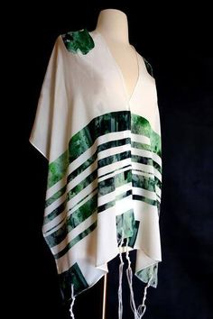 Watercolor stripes in quiet shades of green bring a fresh, contemporary interpretation to traditional tallit designs.This tallit is made from silk crepe de chine, a soft and lightweight fabric that you'll love to drape around your shoulders. Prayer Shawl Patterns, Bat Mitzvah Gifts, Green Girl, Silk Crepe, Book Crafts, Handmade Bags, Shades Of Green, Kimono Top, Stripes