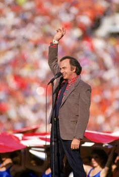 Super Bowl XXI  Neil Diamond sings the National Anthem prior to Super Bowl XXI at the Rose Bowl in Pasadena, California on January 25th, 1987.