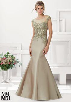 71.102 vestidos de noche / vestidos Larissa satén con encaje con cuentas apliques de bronce