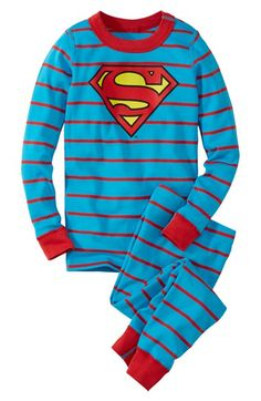 Free shipping and returns on Hanna Andersson 'Superman' Organic Cotton Two-Piece Fitted Pajamas (Toddler Boys, Little Boys & Big Boys) at Nordstrom.com. <b>Buy any Hanna Andersson pajamas for just $24 now through midnight, November 29, 2014. Call 1-888-282-6060 to get the special price.</b>Your future Man of Steel can wear the badge proudly in this coordinating set of fitted pajamas sewn from pure organic cotton.