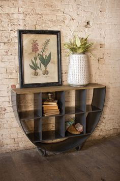 Industrial meets rustic with this beautiful demi-lune console. With its semi circle shape, nine storage compartments, and wooden slat top, this raw metal console makes a unique and understated accent to any rustic home décor. x x shipping Consoles, Home Furniture, Modern Furniture, Furniture Ideas, Narrow Console Table, Wooden Slats, Wooden Shelves, Industrial Chic, Dot And Bo