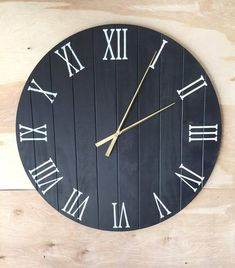 Hand made wooden wall clock Large Rustic Wood Clock Fixer Upper Style Rustic Clock Fixer Upper Decor, Rustic Wall Clock Wooden Clocks Wall Clock Wooden, Rustic Wall Clocks, Wood Clocks, Rustic Wood Walls, Wooden Walls, Fixer Upper Decor, Unique Housewarming Gifts, Black Clocks, Stencil Painting