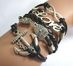 Infinity braceletowl braceletLove Bracelet Anchor by Youchic, $4.65