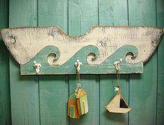Sailboat Waves Coat Rack Dingy Sign Beach House by CastawaysHall, $79.00