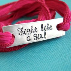 "Silk Wrap Bracelet Fuchsia""Fight Like a Girl"" Silk Wrap Bracelets, Pink October, Breast Cancer Awareness, Handcrafted Jewelry, Multiple Myeloma, My Style, Leather, Accessories, Rock"