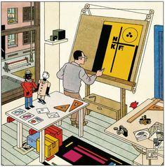 "Piet Zwart in ""En Toen De Stijl"" by Joost Swarte Illustration Sketches, Graphic Design Illustration, Graphic Art, Pattern Illustration, Graphic Novels, Ligne Claire, Learn Art, Arte Popular, Grafik Design"