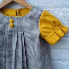 Items similar to Girls Dress- As Seen in Dilla Magazine- Retro Style Yellow Gold and Gray with Box Pleats- Kids Fashion- Handmade Indie Kids Ethical on Etsy Little Girl Outfits, Little Girl Dresses, Kids Outfits, Girls Dresses, Cute Outfits, Sewing For Kids, Baby Sewing, Bebe Love, Moda Kids