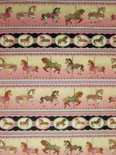 Carousel Horses Painted Pony Border Cotton Fabric FQ by scizzors, $2.99